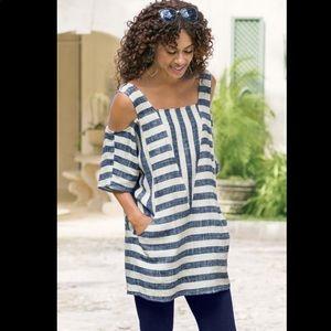 Soft Surroundings Linen Sunset Stripe Tunic Top S